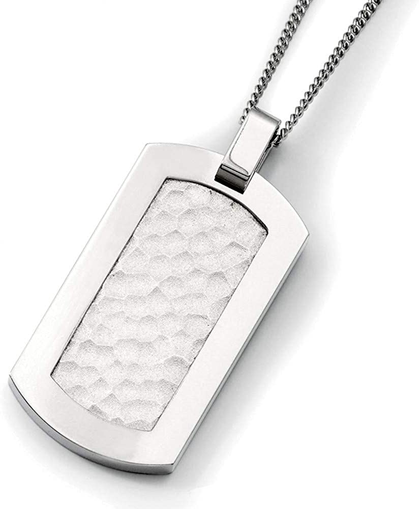 Titanium Hammered Pendant Stainless Engravable Polished 5 ☆ very popular Steel Fa online shopping