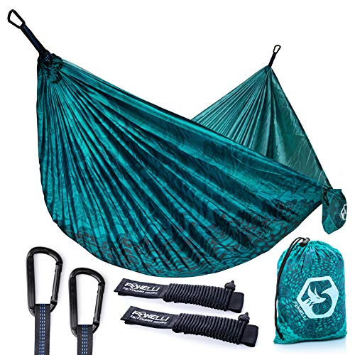 Foxelli Camping Hammock – Lightweight Parachute Nylon Portable Hammock with Tree Ropes and...