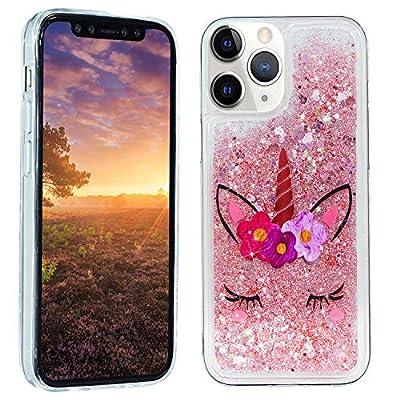HopMore Glitter Funda para iPhone 12 / iPhone 12 Pro Purpurina Silicona Cover 3D Liquido Brillante Dibujos Transparente Carcasa Resistente Antigolpes Case Protección - Unicornio