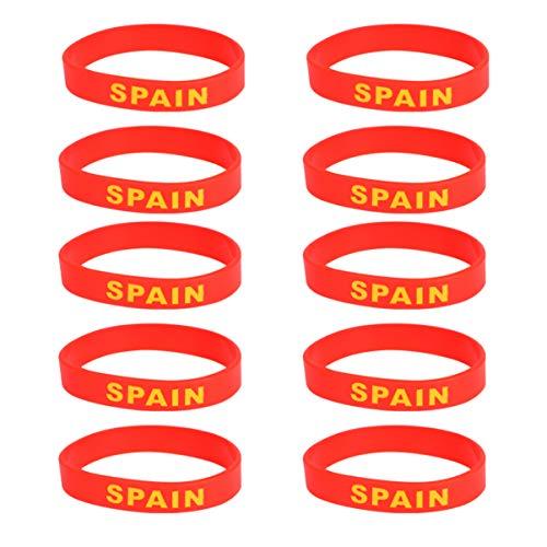 BESPORTBLE País España Bandera Pulsera Unisex Pulsera de Silicona Goma Deportes Pulsera Baloncesto Fútbol Fútbol Pulseras Niños Adultos Fiesta Favores Regalo 10 Piezas