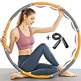 TTMOW Fitness Hula Hoop Reifen zur Gewichtsreduktion mit Schaumstoff Gewichten Einstellbar von 1,65 bis 2,2 lb für Erwachsene und Kinder, mit Geschenk Springseil (Orange)