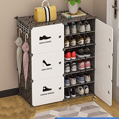 YQCX Gabinetes de Alenamiento de Zapatos Independientes Apilables de 6 Tercios, Zapatos de Gran Capacidad Estante de Alenamiento de Bastidores con Estanterías Ajustables Y Puerta Tr
