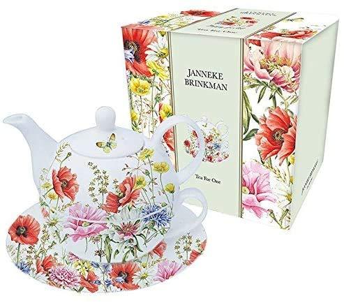 Tea for One Teekanne / Tasse und Untertasse aus feinem Porzellan