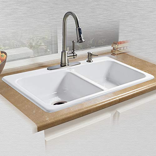 "Miseno MCI25-4TM-20 Miseno MCI25-4TM 33"" Double Basin Drop In Cast Iron Kitchen Sink"