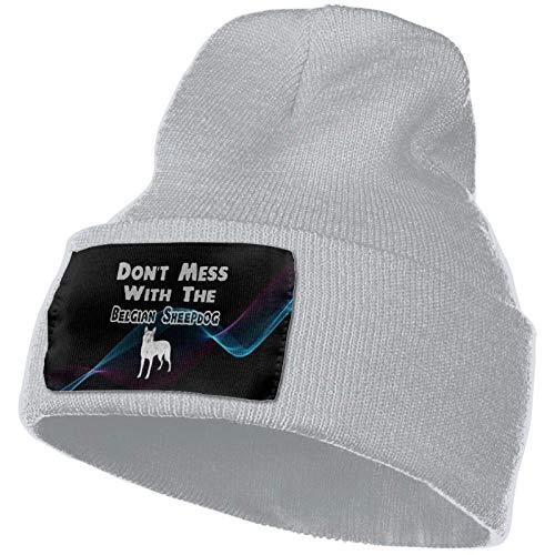 Tedtte No te metas con el Perro Pastor Belga Sombrero de Punto Unisex Gorro de Calavera de Moda Sombreros de Punto