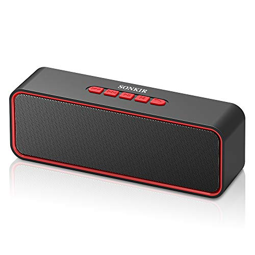 Wireless Bluetooth Lautsprecher, Sonkir Tragbarer Bluetooth 5.0 TWS Lautsprecher mit Dual-Treiber Bass, 3D-Stereo, FM Radio, Freisprechfunktion, integriertem 1500-mAh-Akku, 12-Stunden-Spielzeit (Rot)