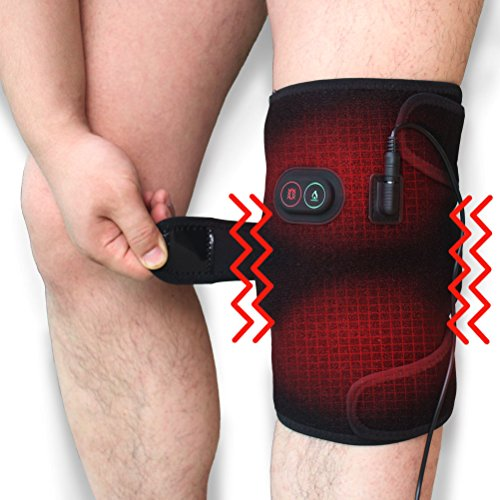 Creatrill Massaging Heated Knee Brace Wrap, Heat & Massage 3 Settings, Heating Pad Wrap with 2 Vibration Motors for Knee Injury, Cramps Arthritis Recovery, Massager for Muscles Pain Relief Relax