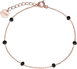 Women's Essentielle Rose Gold​ Plated Brass Black Crystals Chain Bracelet CLJ10013