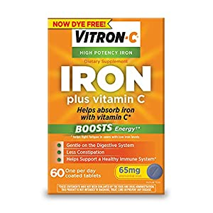 Vitron-C, now dye free, is high potency iron supplement for iron deficiency and boosts energy by helping to fight fatigue in users with low iron levels Contains 125 mg of Vitamin C to support a healthy immune system and to improve iron absorption Con...