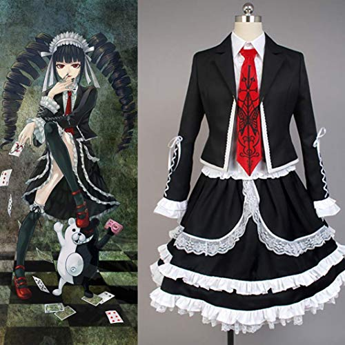 Uniform Anime Matrosen Kostüm Danganronpa Cosplay Celestia Ludenberg Kostüm Damen Kleid Halloween Kostüm Party Outfit Anzug (Top + Shirt + Fliege + Gothic Kleid + Kopfbedeckung + Socken)