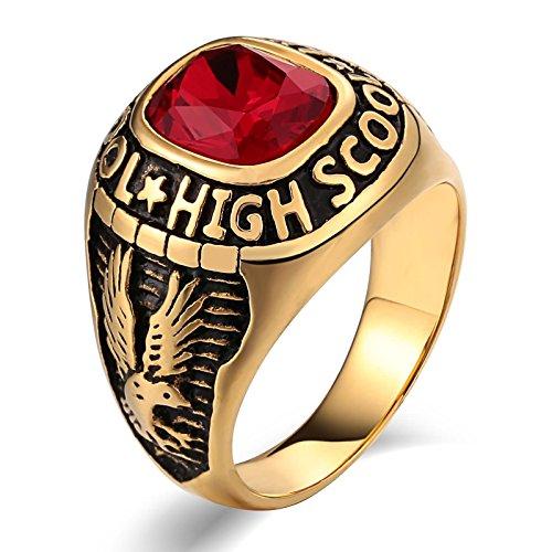 Beglie Edelstahl Herren Ringe Siegelring Italien Signet Ring Band Ring Daumenring für Mann Rot Ringe Herren Ernst Design Größe 57 (18.1)