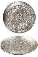 tondo vassoio orientale in metallo banna 30cm - tè marocchino color argento - decorazione orientale sul tavolo di servizio
