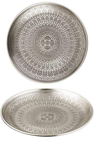 Oosterse ronde dienblad schaal van metaal Banna 30 cm groot zilver | Orient decoratieve schaal met hoge rand | Marokkaans dienblad rond | Oosterse zilveren decoratie op de gedekte tafel