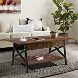 """Yesker Industrial Coffee Table, Two Tier Rectangular Center Table with Open Storage Shelf for Living Room, Accent Cocktail Table with Wood and Metal Frame 45"""", Rustic Brown"""