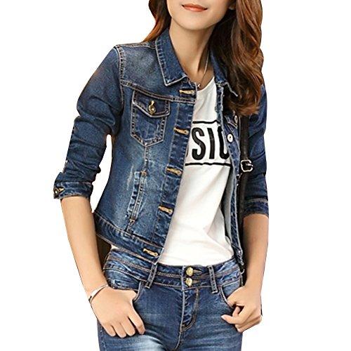Corto Chaquetas Jacket De Mezclilla Slim Fit Manga Larga Abrigo Denim Jackets Cazadora Vaquera para Mujer Azul M