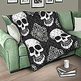 Flowerhome Totenkopf Tagesdecke Steppdecke Bettdecke Bettüberwurf Sofadecke Couchdecke Schlafdecke Überwurfdecke für Erwachsene Kinder White 150x200cm