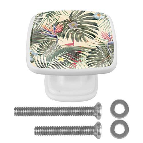 Pack de 4 pomos cuadrados blancos para armario de cocina, pomos para armario de dormitorio y cajones de tocador, diseño vintage tropical de palmera floral