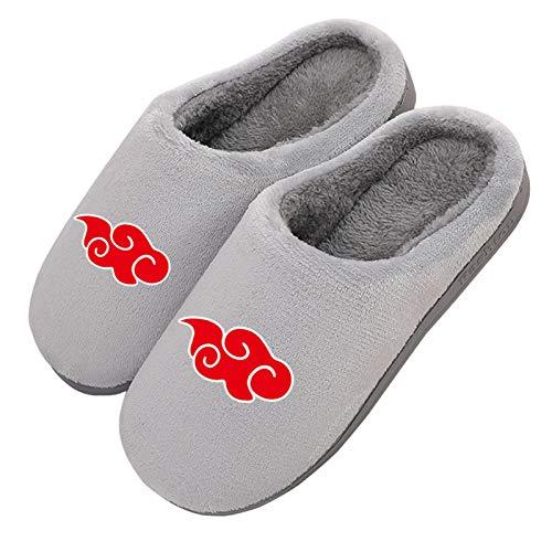 Hausschuhe Damen Herren Winter Memory Foam Pantoffeln Akatsuki Logo Naruto Japanese Anime rutschfeste Warme Bequem Plüsch Slippers,41/43 EU