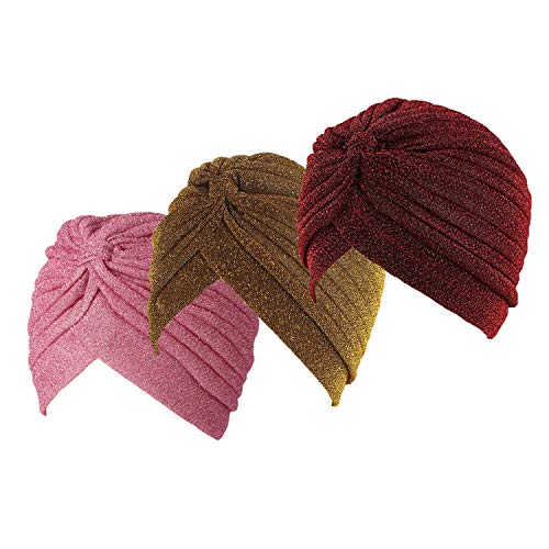 Ever Fairy 3 Stücke Frauen Gold Helle Seide Turban Headwrap Cap Beanie Hut Muslim Plissee Kopf Wrap Cap Krebs Chemo Hut (Stil D)