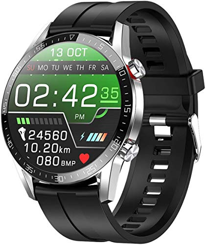 jpantech Smartwatch Voll Touch Screen IP68 Damen Herren Intelligente Uhren Sport | Bluetooth-Anruf | EKG-Überwachung Tracker Pulsuhr Schrittzähler Blutdruckmessung Wasserdicht IOS/Android(Silber)