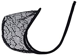 Men's c-string with a pouch of transparent black lace.