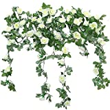 JUSTOYOU 2 Pack 7.2ft Artificial Fake Rose Garland Vines Col