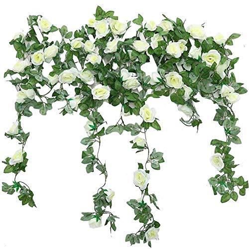JUSTOYOU 2 Pack 7.2ft Artificial Fake Rose Garland Vines Colgando Flores de Seda para la Pared de la Boda al Aire Libre Interior Decoración del baño Badroom (Blanco)