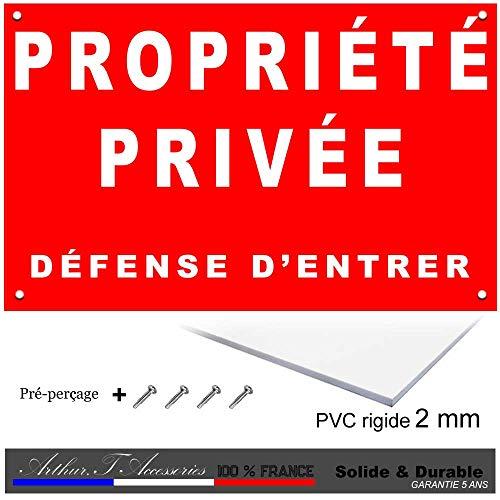 Petite Plaque défense d'entrée, Propriété privée en Rouge en PVC 3 mm