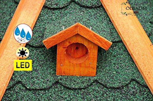Vogelhaus-Futterhaus Massivholz,Massiv-Vogelhäuser, XXL ca. 70-75 cm, wetterfest Massivdach, mit Silo,Futtersilo für Winterfütterung,mit Beleuchtung LED-Licht -Holz Nistkästen & Vogelhäuser- aus Holz BGXL75grOS Holz ohne Ständer Vogel + Vogelhaus-Futterhaus Massivholz GRÜN - 5