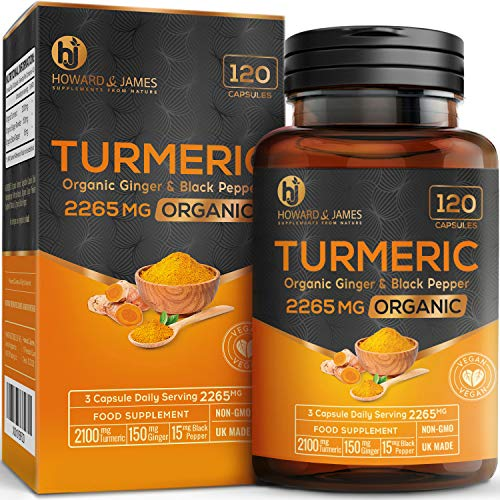 Turmeric Capsules High Strength | 2265mg Serving with Black Pepper and Ginger | 120 Organic Vegan Capsules