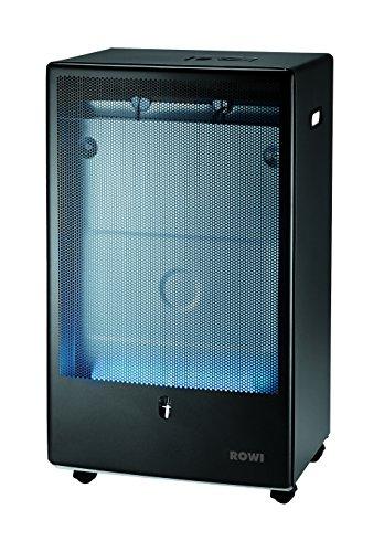 Rowi – Gasheizofen mit Flamme, blau, anthrazit, 4200 W, Thermostat, Pro