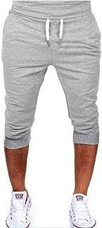 MK988 Men Gym Trainning Jogger Trousers Capri Drawstring Solid Shorts Sweatpants