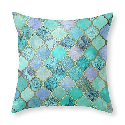 Fundas de almohada, diseño de azulejos marroquíes de color menta con estampado cuadrado decorativo para sofá, cama, hogar, coche, 45,72 x 45,72 cm