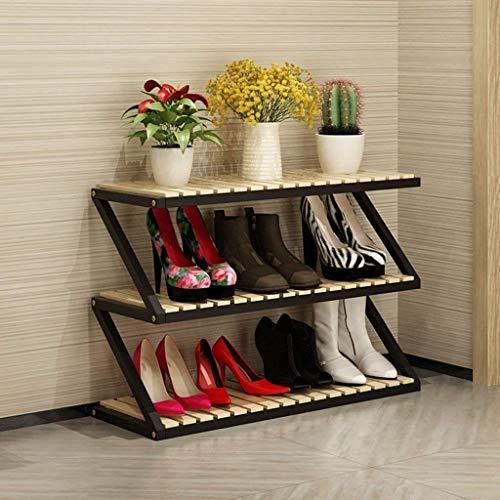 JSMY Zapateros Estante de Almacenamiento de estantes de Zapatos de Madera Maciza para el hogar Simple,Soporte de Flores de Hierro Multicapa Multifuncional(Color:C)