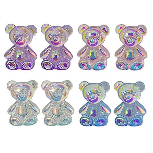 SHURROW 4 Pares de Bonitos Pendientes de Oreja de Oso Transparente con Caramelo pequeño, Regalos de joyería, Pendientes para Mujeres y niñas, Pendientes para Mujer, Gota para los oídos