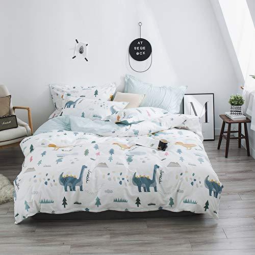 Duvet Cover Set, Cotton Printed Four-piece Set Fresh Cartoon Reactive Printing Bed Sheet Quilt Cover Pillowcase, Double Household Bedding Set