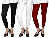 Ancientstar Ankle Length Leggings for Womens/Girls/Ladies- Black White Maroon-XL