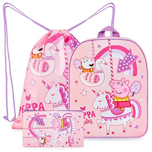 Peppa Pig Kindergartenrucksack Mädchen Set, Peppa Wutz Rucksack Mädchen mit Turnbeutel und Federmäppchen