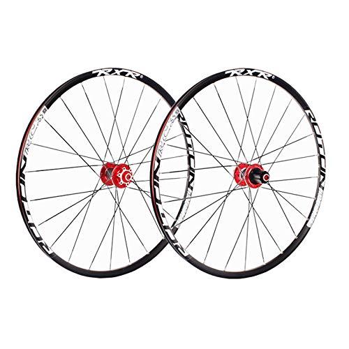 ZNND Juego Ruedas Bicicleta Montaña 26 Pulgadas MTB Aleación Llanta Doble Pared 7-11 Velocidad 5 Palin Liberación Rápida Fibra Carbon Hub Freno Disco (Color : Red)