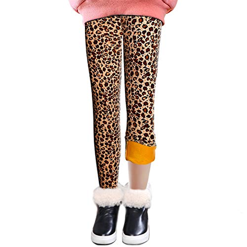 LSHEL Bambini Ragazze Leggings in Foderati Pantaloni Invernali Lunghi Spessi Stretch Pantalone, Leopardo, 7-8 Anni