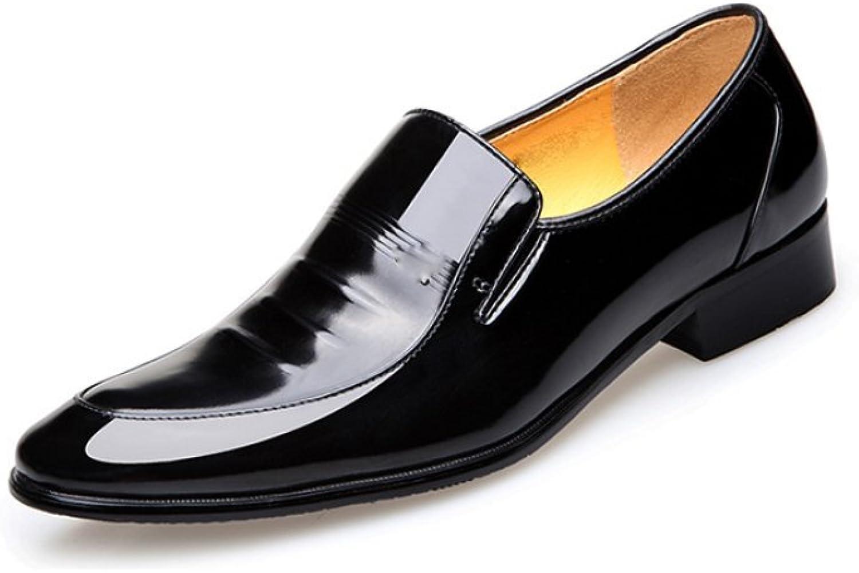 Snfgoij Men's Leather shoes Black Tie Formal Soft Commerce Patent Leather shoes Leather Formal shoes