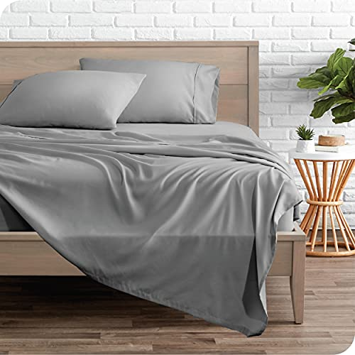 Bare Home Twin XL Sheet Set - College Dorm Size - Premium 1800 Ultra-Soft Microfiber Twin Extra Long Sheets - Double Brushed - Twin XL Sheets Set - Deep Pocket - Bed Sheets (Twin XL, Light Grey)