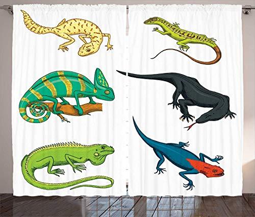 Tr674gs Salamander Vorhänge, Muster von bunten, exotischen Reptilien, für Wohnzimmer, Schlafzimmer, Fenster, 2 Paneel-Set, 28 x 214 cm, Weiß, mehrfarbig