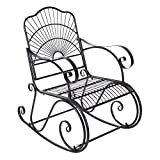 Gmkjh Silla Mecedora para Patio, Silla Mecedora Mecedora de Hierro, Silla Individual en Patio al Aire Libre, Patio Trasero, Parque