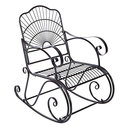 lyrlody Rocking Chairs for Adults,Relaxing Reclining Garden Chairs Iron Rocker Chair with Curved Armrest Single Lazy Chair Sun Lounger Chair for Outdoor Indoor Patio Backyard Park,104×89×61cm