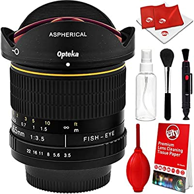 Opteka 6.5mm f/3.5 HD Aspherical Wide Angle Fisheye Lens with Optical Cleaning Kit for Canon EOS 80D, 77D, 70D, 60D, 60Da, 50D, 7D, T7i, T7s, T7, T6s, T6i, T6, T5i, T5, SL2 and SL1 Digital SLR Cameras from Opteka