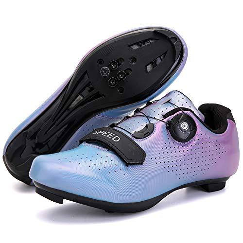 KUXUAN Zapatillas de Ciclismo Cordón de Zapatos Giratorio con Zapatilla Peloton de Cala Compatible con Zapatillas de Bicicleta con Pedal SPD y Delta Lock,Blue-6.5UK=(250mm)=40EU