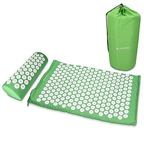 Navaris Set de masaje de acupresión - Esterilla relajante de acupuntura lavable de 68 x 42 x 2 CM con almohada y funda de transporte - Verde y blanco