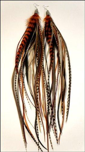 grizzly-extensions extravagante Boucles d'oreilles Nature & Orange