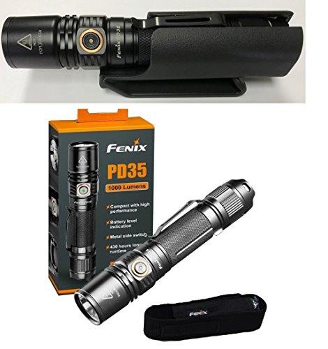 Bundle: Fenix PD35v2 LED Flashlight 1000 Lumens PD35 V2.0 2018 edition with Clip-on Kydex Hard shell Holster